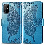 for Samsung Galaxy S20 Case LAPOPNUT Embossed Butterfly Flower Pattern PU Leather Wallet Case Vintage Flip Cover with Card Holder Magnetic Stand Cases for Samsung Galaxy S20, Blue