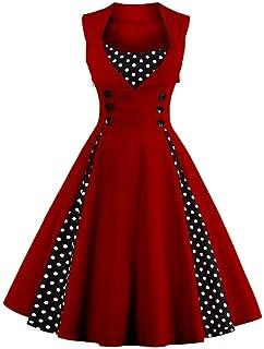 AXOE Damen 50er Jahre Kleider mit Gepunkte Rockabilly