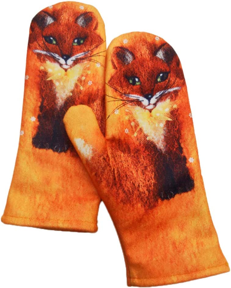 DFGHN Cute Fox Printed Gloves for Women Winter Warm Gloves Soft Faux Cashmere Gloves