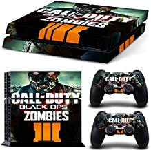 Ambur® Ps4 Console Designer Vinyl Skin Decal Cover for Sony Playstation 4 & Remote Dualshock 4 Wireless Controller Stickers - ps4 skin bo3 Call of Duty Black Ops Zombies
