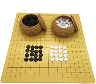 Elloapic Go Chess Game Set with Plastic Stones in Imitation Straw Cans + Leather Go Board, 18.9 x 19.3 Inches