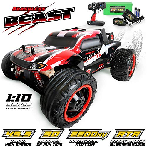 RC CHARGERS The Beast BRUSHLESS Remote Controlled RC Truck, 1:10 Scale Brushless Motor | 20 MPH, Strong Suspension, 2.4GHz, Pistol Grip Control | 9.6v Battery and Charger Included