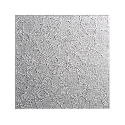 DECOSA Styropor Deckenplatten VALENCIA in Putz Optik - 16 Platten = 4 m2 - Deckenpaneele weiß - Dekor Paneele 50 x 50 cm - Decken Styroporpaneele