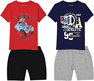 Hopscotch Baby Boys Cotton Short Sleeves Regular Fit Blend T-Shirt and Short Set Pack of 2 in Multi Color