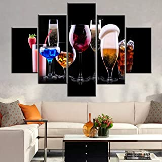 Wine Glasses Paintings for Living Room Red Wine and Juice Pictures Varies of Drink Wall Art Multi Panel Canvas Artwork HD Prints Giclee Modern House Decor Stretched Framed Ready to Hang (60''Wx 40''H)