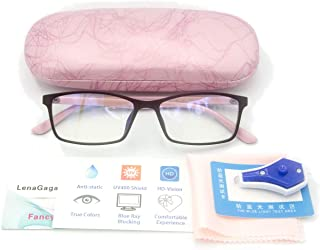 Women Anti Blue Light Glasses Block Eye Strain Glare with Case Tester, Gaming Computer Glasses Blue Light Block Glasses Filter UV Blocker Clear Lens Small Face Narrow Rectangle Nerd Frame Pink Black