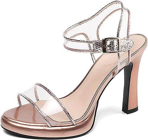 YANGXIAOYU Plate-Forme Transparente avec des Sandales épaisses, Chaussures D'été à Talons Hauts avec Un Simple Bouton, gris, Rose, Vert 10cm (Couleur   rose, Taille   37 EU)