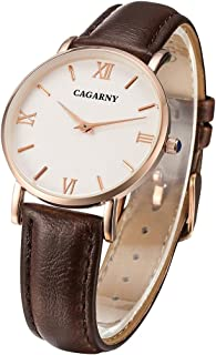 Lanbinxiang@ 6813 Simple Style Ultra-Thin Rose Gold case Quartz Watch with Ladies Leather Strap Fashion (Color : Brown)