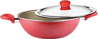 Prestige Omega Gold Induction Base Non-Stick Aluminum Kadhai with Lid, 220mm/2.1 litres, Metallic Red
