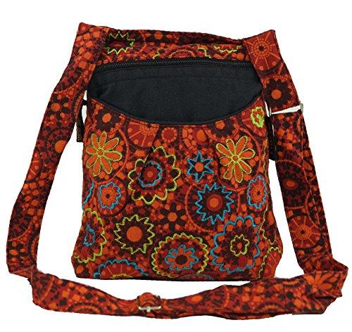 GURU SHOP Bestickte Ethno Schultertasche - Rot, Herren/Damen, Baumwolle, Size:One Size, 24x20x7 cm, Alternative Umhängetasche, Handtasche aus Stoff