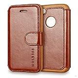 Mulbess Funda iPhone 4s [Libro Caso Cubierta] [En Capas de Billetera Cuero de la PU] con Tapa Magnética Carcasa para iPhone 4 / 4s Case, Marrón
