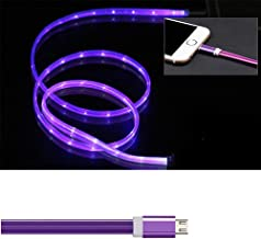Micro USB Data Line,3ft LED Visible Flowing Light Up Charging Cable to Sync Data Cords Compatible with Samsung, Kindle, Nexus, LG, Sony, Xbox, PS4 - with Cell Phone Finger Ring Stand(Purple)