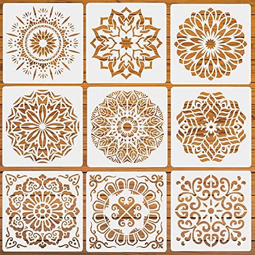 LYPER 9 plantillas de mandala de 30 x 30 cm, reutilizables, plantillas de dibujo para pintar en pared, suelo, cristal, madera, ropa, tela, 9 unidades