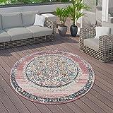 Paco Home In- und Outdoor-Teppich, Kurzflor Mit Orient Design In versch. Farben und Größen, Grösse:160 cm Rund, Farbe:Pink