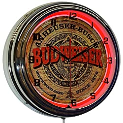 ELG Companies LLC 16 Budweiser Keg Label Beer Sign Red Neon Wall Clock Chrome Garage Bar Man Cave