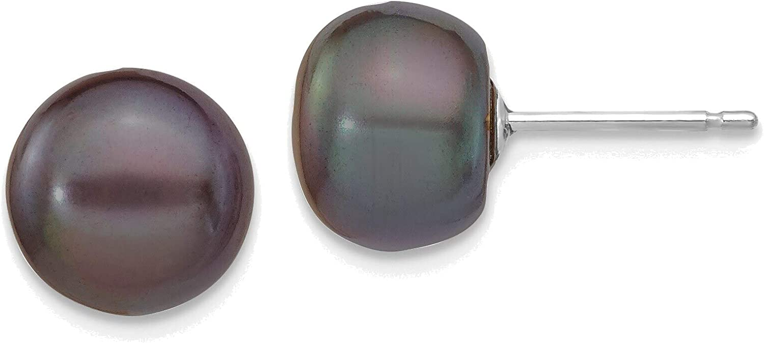 14kt White Gold 8-9mm Black Button Freshwater Cultured Pearl Stud Post Earrings