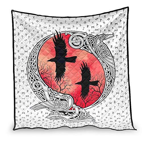 OwlOwlfan VIKING Ravens In Norse - Colcha de edredón para invierno (230 x 280 cm), color blanco