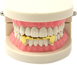Custom Fit 14k Gold Plated Hip Hop Half Teeth Grillz Caps Lower Bottom Grill Set