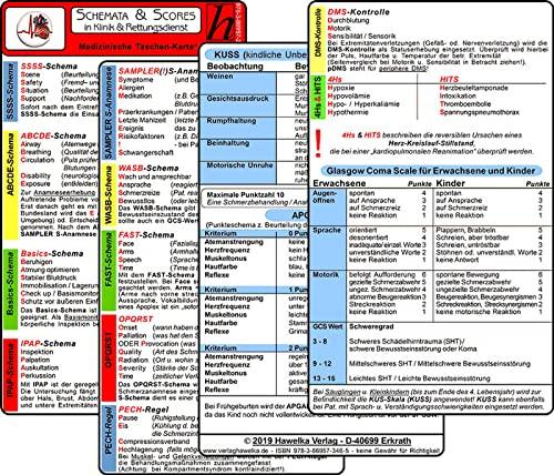 Schemata & Scores in Klinik & Rettungsdienst (2 Karten Set) - SSSS-Schema, ABCDE-Schema, Basics-Schema, IPAP-Schema, SAMPLER(!)S, WASB, FAST, OPQRST, PECH-Regel, DMS, 4Hs, HITS, GCS, KUSS, APGAR