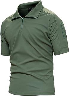 TACVASEN Men's Tactical Performance Polo Short and Long Sleeve 1/4 Zip Hiking Tee Shirt