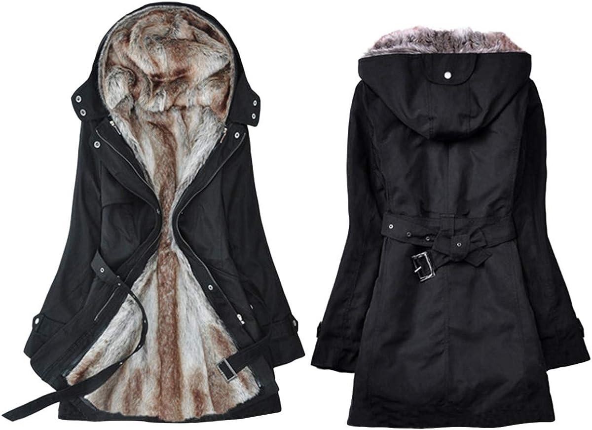 Onsoyours Warme Jacke Damen Winterjacke warm gefüttert Parka Mantel Baumwolle Military Style mit Kapuze Schwarz