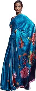 light blue Indian Designer Digital Print Sari Soft Satin Crepe Shiny Formal Cocktail Saree Blouse 6078