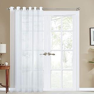 Topfinel Cortinas Translúcidas sólido netas Visillos Paneles para Ventanas niños Habitaciones Gasa con Blanco de Ojetes,228x228cm 1 Pieza