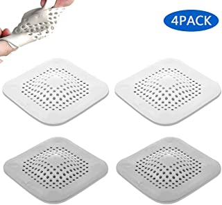 OtooKing Hair Catch, Drain Protector Silicone, Shower Drain Cover, Sink Strainer, Sink Catcher, Drain Filter,Drain Cover, Shower Hair Stopper with Sucker, Bathtub Hair Catcher, Grey/White 4 PACK