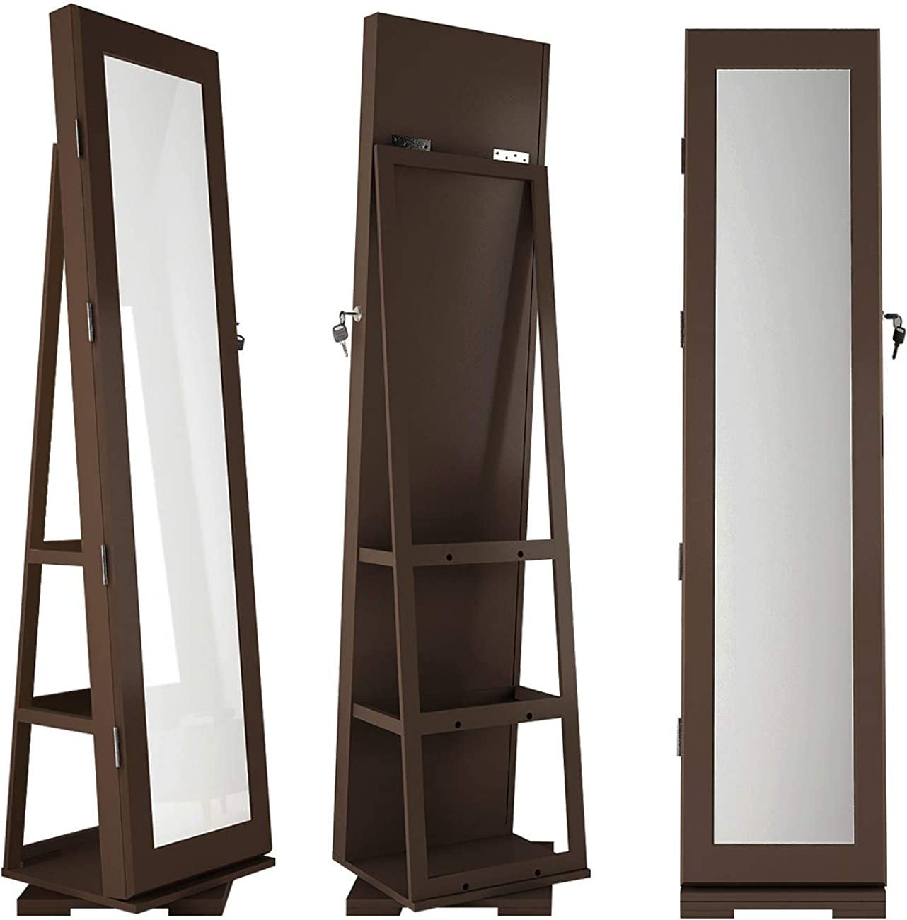 Lockable Standing Jewelry Armoire Organizer with Light/&Storage Shelf Back SDHYL 360/°Rotatable Full-Length Mirror with Jewelry Cabinet