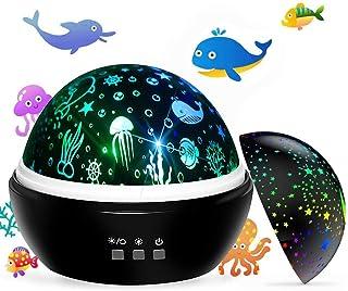 Newest Baby Kids Night Light Projector, Ocean and Stars Night Lights Projector Lamp, Rotating and Colorful Mood Nursery So...