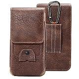 DAYNEW 4.7-5.1' de Hombre Funda de Piel Cinturón Bolso de Cintura Premium Funda Piel Mini Bolsa de Mensajero Hombro Bolsa para Huawei Honor 9/6A/Y6/Y5/Y6/P10/Enjoy 6-Marrón