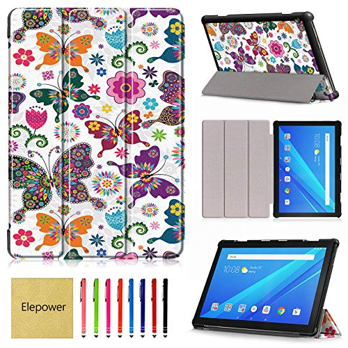 TB-X605F Case for Lenovo Tab M10 (NOT Fit Tab P10 E10), Elepower Ultra Slim Leather Shell Protective Case Trifold Kickstand Folio Cover for Lenovo Tab M10 TB-X605F 10.1' Tablet, Butterfly
