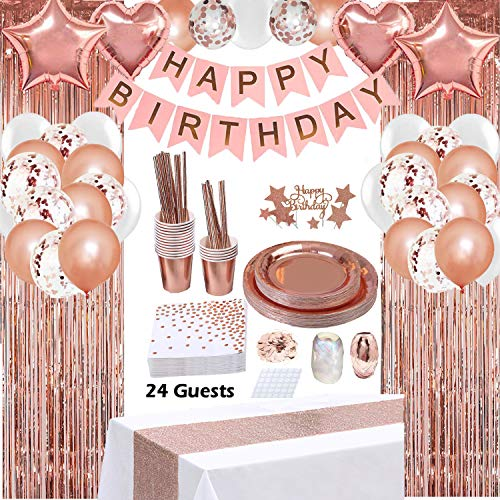 Rose Gold Birthday Party Decorations, Rose Gold Party Decorations Set for Girls Or Women, Happy Birthday Banner, Curtains, Table Runner, Balloons, Plates, Cups, Tissue for 24 Guest by JSN PARTY