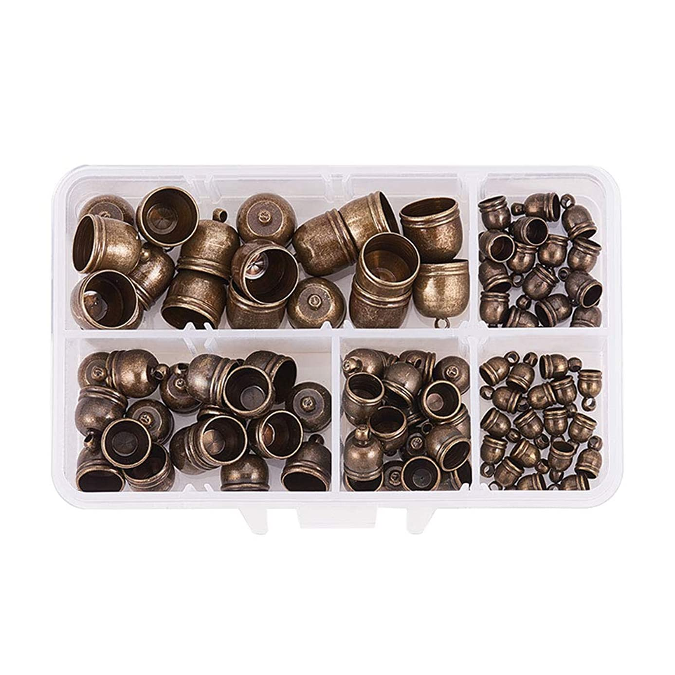 PH PandaHall 100pcs 5 Size Antique Bronze Brass Leather Ends Cord Glue in Barrel End Caps, Leather Cord Kit for Kumihimo Jewelry and Tassel Making(8mm, 9mm, 10mm, 12mm, 14mm)