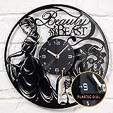 LKCAK La Bella y la Bestia Disco de Vinilo Reloj de Pared Vinilo Reloj de Pared decoración Regalo...