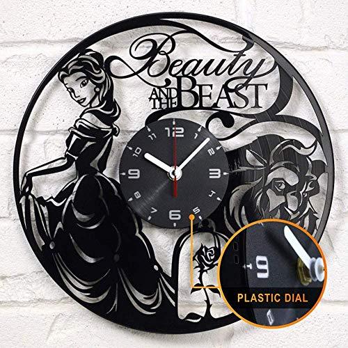 LKCAK La Bella y la Bestia Disco de Vinilo Reloj de Pared Vinilo Reloj de Pared decoración Regalo Creativo Reloj