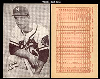 1963 Exhibits Stat backs (Baseball) Card# 43 Eddie Mathews of the Milwaukee Braves VGX Condition