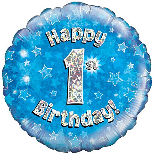Oaktree UK 18 Happy 1st Birthday holografische film design ballonnen, blauw