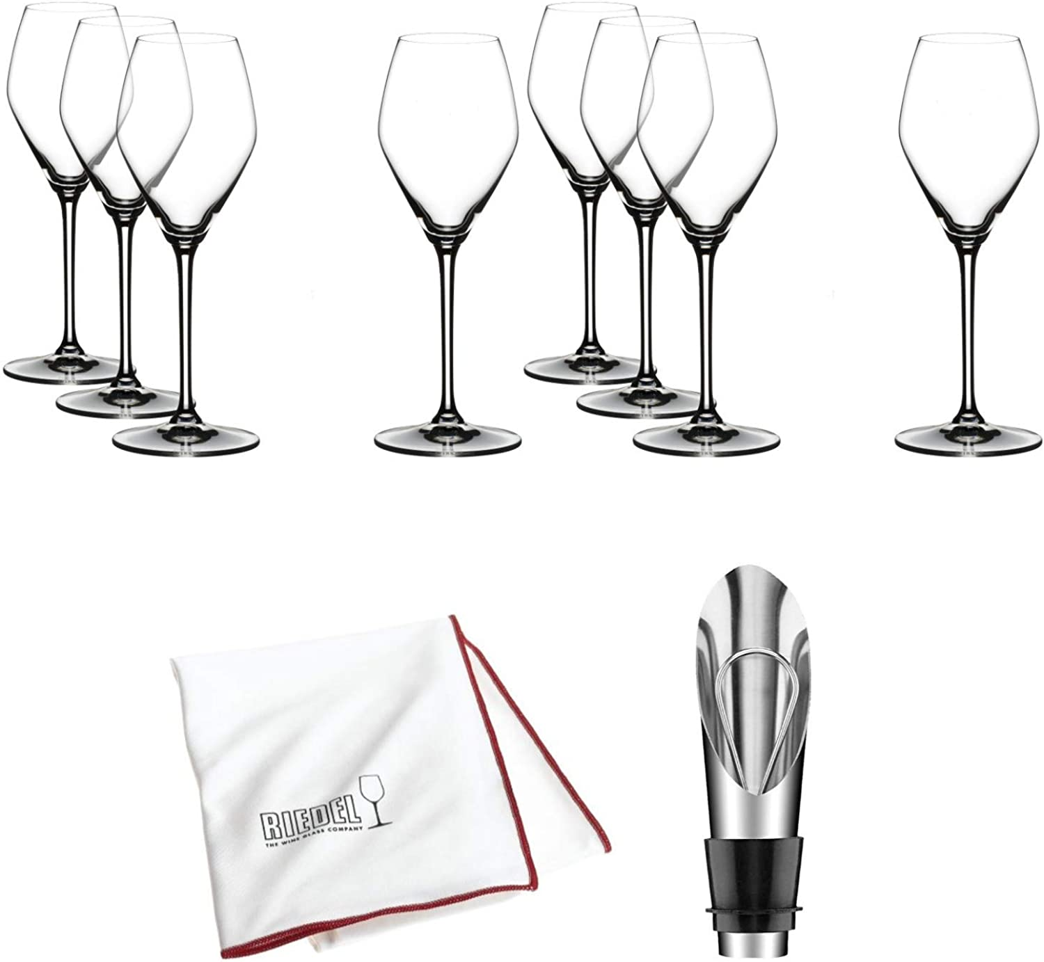 Riedel Extreme Crystal Champagne pink Wine Glass, Set of 8 Glasses Includes Wine Pourer with Stopper, Bottle Opener and Polishing Cloth