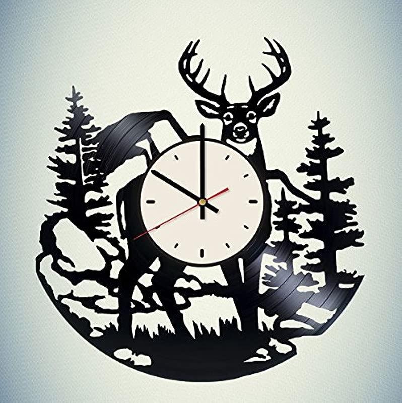 Wild Deer Vinyl Wall Clock Animal Unique Gifts Living Room Home Decor