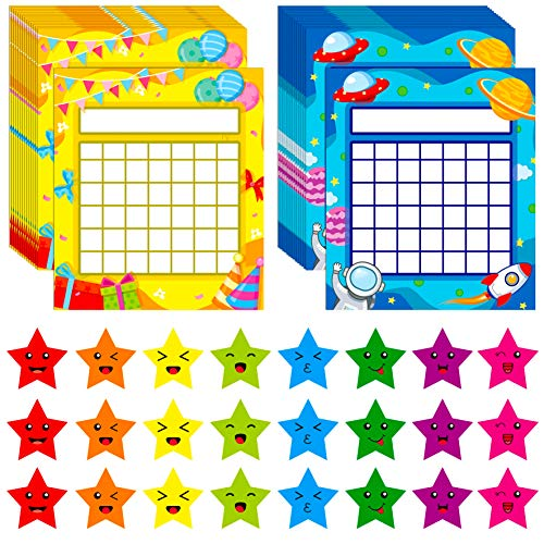 66 Pack Classroom Incentive Chart in 2 Designs with 2024 Star Stickers