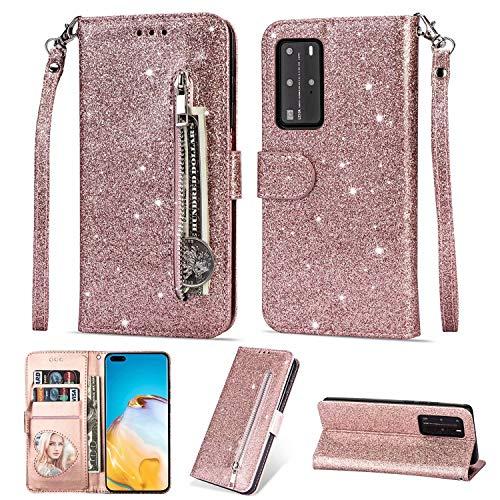 Nadoli Cover Case Coque pour Huawei P40 Pro,Fermeture éclair Carte Poche Désign Brillant éclat Glitter Dragonne Portefeuille Magnétique Étui Housse pour Huawei P40 Pro
