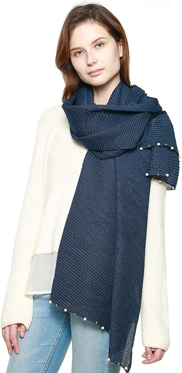 Women's Modern Pleated Soft Metallic Accent Scarf with Pearl Embellishments