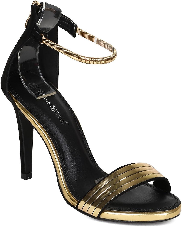 Natur föder CD44 Kvinnor mocka Open Toe Toe Toe Back Zipper Stiletto Sandal - svart Faux mocka  generell hög kvalitet