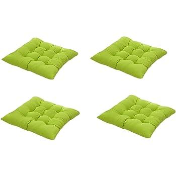 4 cómodos cojines para silla,Worsendy cojines de silla exterior,cojines de terraza,cocina de jardín Cojines de silla de comedor 40x40 cm Crema Cena silla Pad (Verde): Amazon.es: Hogar