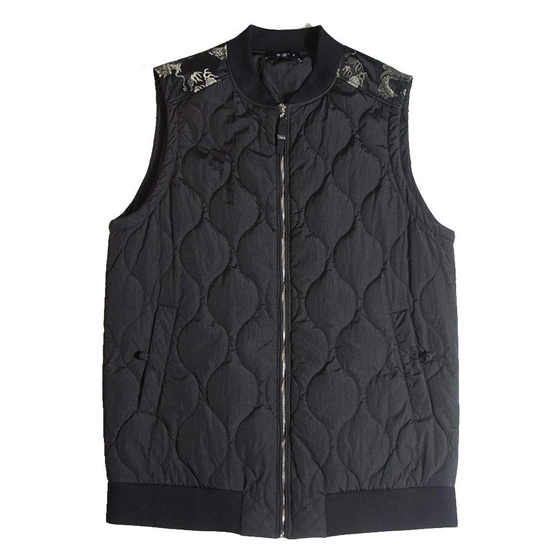 タンクトップ ベストのベストサイズの男性の中国スタイルの刺繍の肥厚と綿のベストのメンズルーズベストの脂肪コットンのベストのノースリーブジャケット (Color : Black, Size : 4XL)