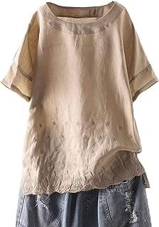 Mordenmiss Women's Linen Embroidered Shirt Blouse Short Sleeve T-Shirt Tops Hi-Low Tunics