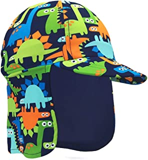 Baby Toddler Boys Dinosaur Swim Hat Water Hat UPF 50 + Sun Hat Quick Dry Flap Hat Beach Pool
