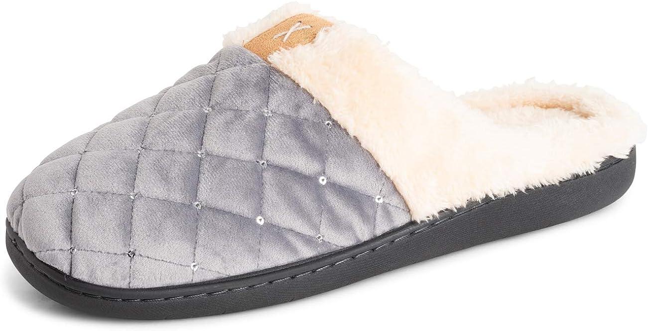 POLAR Womens Memory Foam House Winter Faux Fur Fleece House Rubber Sole Anti Slip Outdoor Cozy Slippers Duel Size