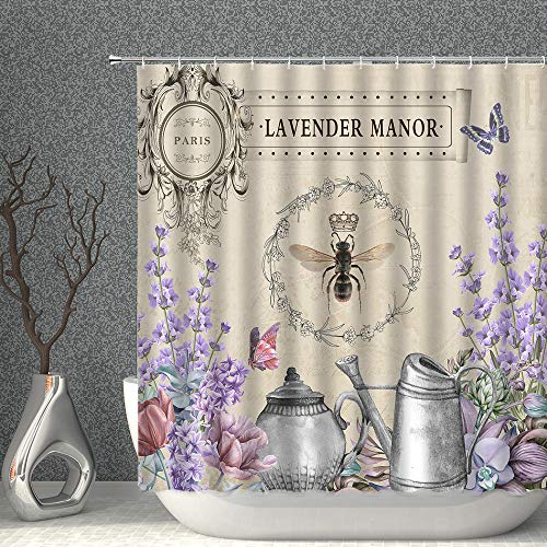 AMNYSF Lavender Manor Shower Curtain French Country Garden Watercolor Floral Butterfly Bee Vintage Queen Watering Can Decor Fabric Bathroom Curtains Polyester with Hooks 90x70 Inch